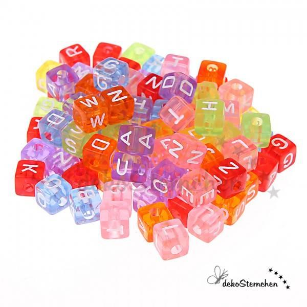 Buchstabenwürfel Kunststoff transparent 80 Stück gemischt