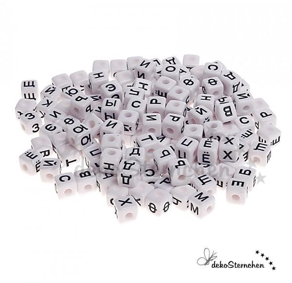 Russisch Buchstabenwürfel Kunststoff weiß 100 Stück gemischt