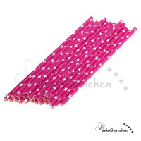 Papierstrohhalme pink/Sterne weiß