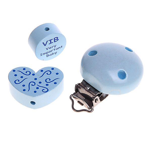 Motivperlen und Clip im Set VIB babyblau