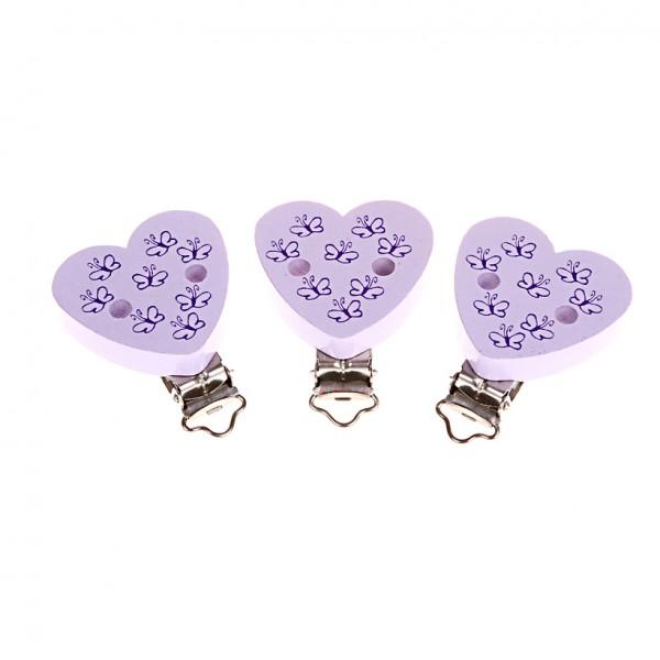 Schnullerkettenclip Herz Schmetterlinge