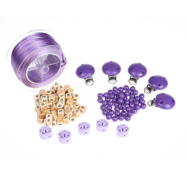 Starterset für Schnullerketten lila