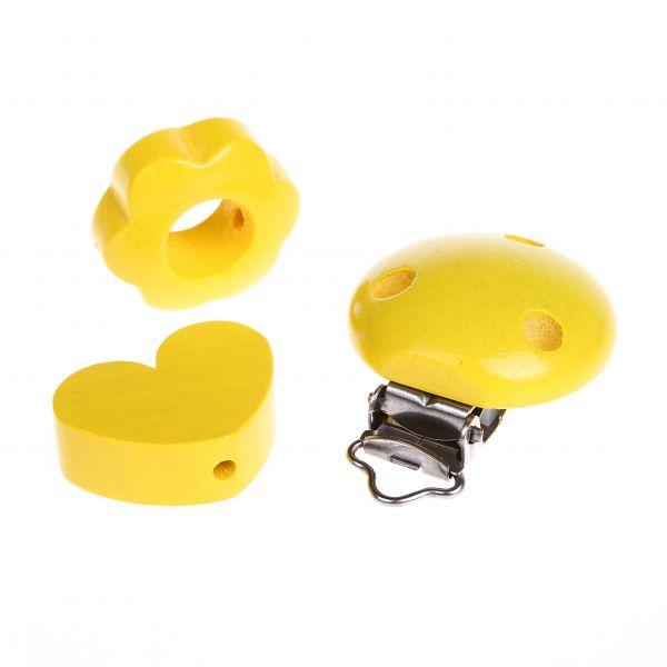 Motivperlen und Clip im Set gelb