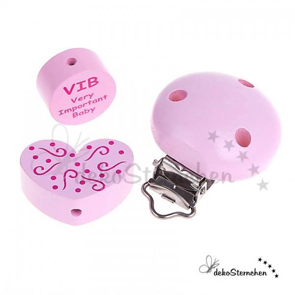 Motivperlen und Clip im Set VIB rosa